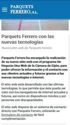Versión móvil de la web de Parquets Ferrero S.L.