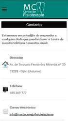 Versión móvil de Web de Marta Conejo centro de fisioterapia