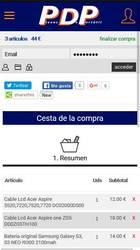 Versión móvil de Web de Piezas de portatil