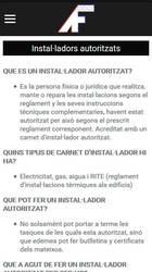 Versión móvil de Web de Lampisteria Premi Sants