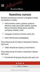 Versión móvil de Web de Albéniz Escuela de Música