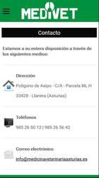 Versión móvil de Web de Medicina veterinaria Asturias